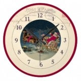 Vintage Santa Postcard Clock riding in a sleigh with reindeer