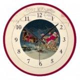 Vintage Santa Postcard Clock riding in a sleigh with reindeer - Vintage Christmas Clocks