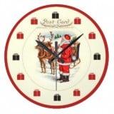 Vintage Santa Postcard Clock of Santa feeding reindeer-Vintage Christmas Clocks