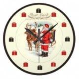 Vintage Santa Postcard Clock - Santa feeding Reindeer - Vintage Christmas Clocks