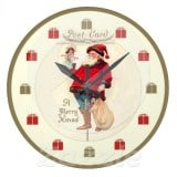 Vintage Santa Postcard Clock with doll and gift bag