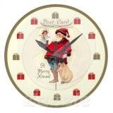 Vintage Santa Postcard Clock with doll and gift bag - Vintage Christmas Clock