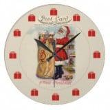 Vintage Santa Postcard Clock with Bag of Gifts - Vintage Christmas Clock