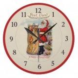 Vintage Santa Postcard Clock - with bag of gifts - Vintage Christmas Clocks