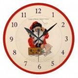Vintage Santa Postcard Clock - Santa wearing headphones