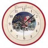 Vintage Santa Postcard Clock - Santa with model T car - Vintage Christmas Clocks