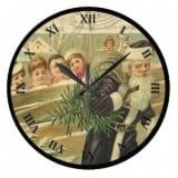 Vintage Santa Postcard Clock carrying Chrismas Tree