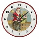 Vintage Artist Santa Postcard Clock - Vintage Christmas Clock