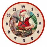Vintage Santa Building a Sled - Vintage Christmas Clock