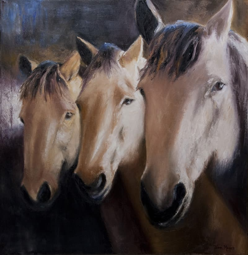Horse Portrait Painting, Horse Painting, Three Horses, Animal Painting, Equestrian Painting