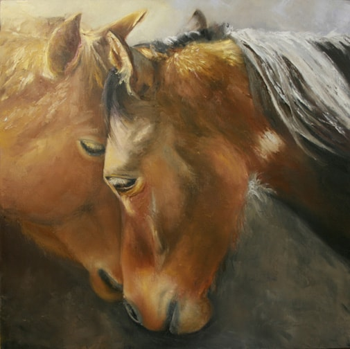 Horse Portrait Painting, Horse Painting, Animal Painting
