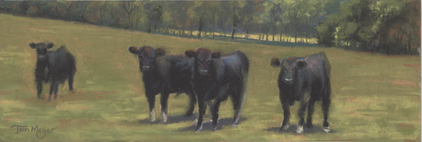 Black Angus Buddies, Cow Painting, Black Angus Cow Painting by Ohio Artist Terri Meyer, Plein Air Landscape Paintings