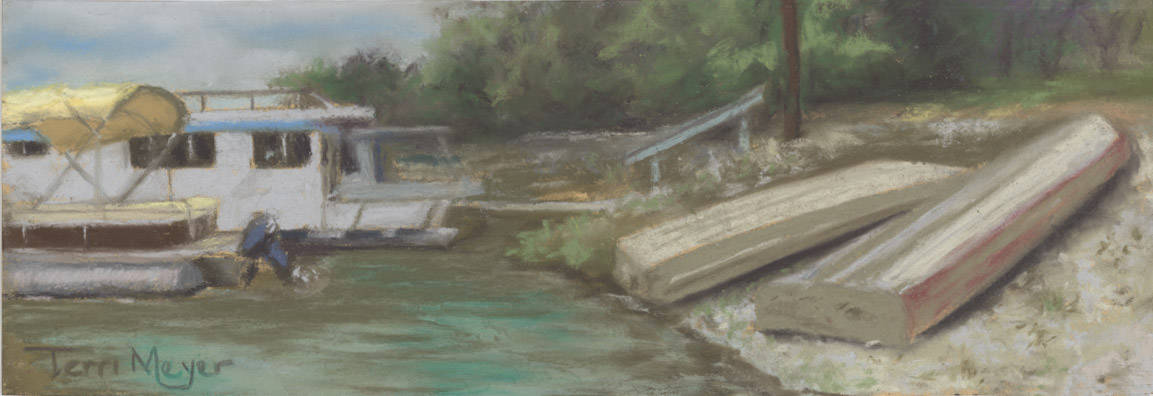 Boats at Charles Mill Lake Ohio - Plein Air Painting by Ohio Artist Terri Meyer, Plein Air Landscape Painting
