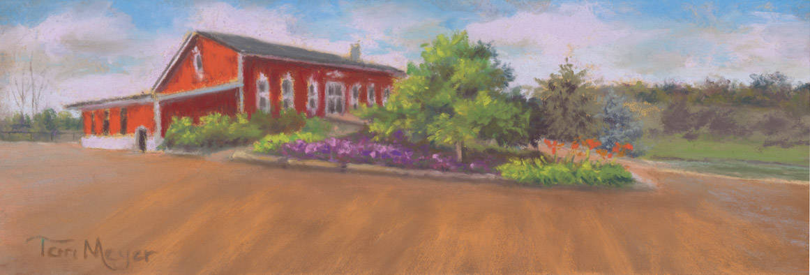The Creative Chateau Barn Painting by Ohio Artist Terri Meyer, Plein Air Landscape Painting