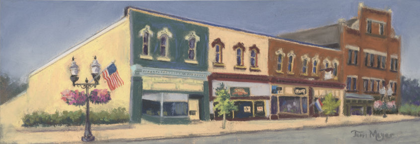 Downtown Ashland, Ohio - Plein Air Landscape Painting by Ohio Artist Terri Meyer