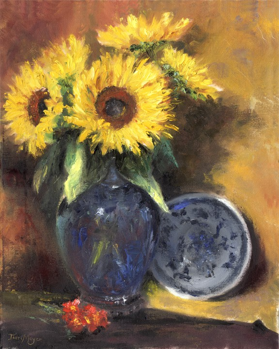 Sunflower Painting, Floral Painting by Ohio Artist Terri Meyer