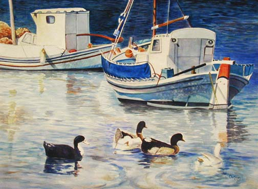 Greek Fishing Boat Painting, Decorative Painting