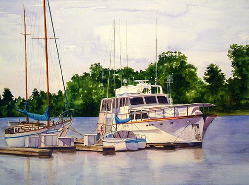 Boat Painting, Decorative Painting by Ohio Artist Terri Meyer