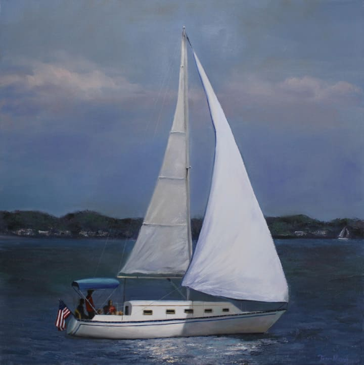 Sailboat Painting, Decorative Painting by Ohio Artist Terri Meyer