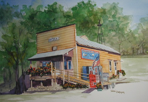 Decorative Painting, Country Store Painting, Mckay General Store Painting by Ohio Artist Terri Meyer