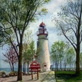 Marblehead Lighthouse in Spring - Ohio Lighthouse Paintings - Lighthouse Paintings