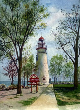 Marblehead Lighthouse Painting, Lighthouse Painting