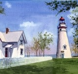 Panoramic View of Marblehead Lighthouse - Ohio Lighthouse Paintings - Lighthouse Paintings