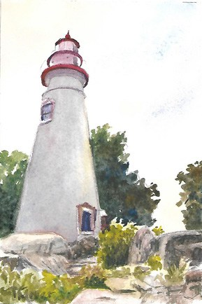 Marblehead Lighthouse Painting, Lighthouse Painting, Watercolor Lighthouse Painting