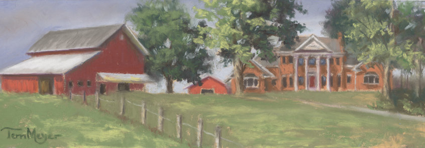 Ohio Landscape Painting of Meyer Country Estate by Ohio Artist Terri Meyer, Plein Air Landscape Painting