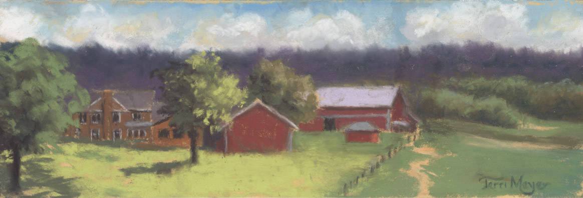 Ohio Landscape Painting by Ohio Artist Terri Meyer, Plein Air Landscape Painting, West View of the Meyer Ranch by Ohio Artist Terri Meyer