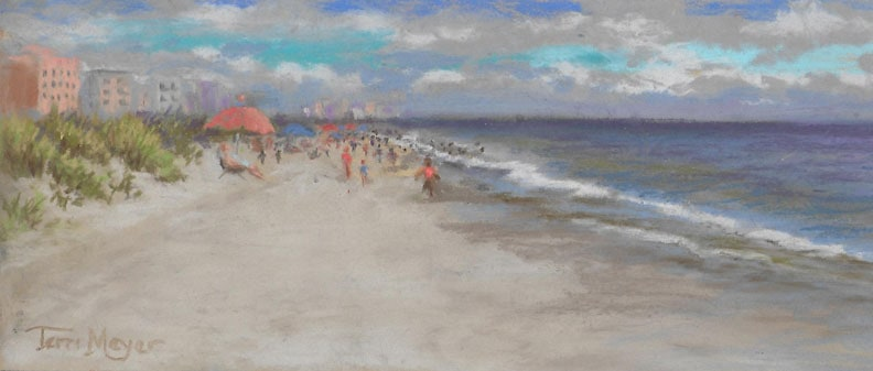 Crescent Beach at Myrtle Beach, SC - Plein Air Painting by Ohio Artist Terri Meyer