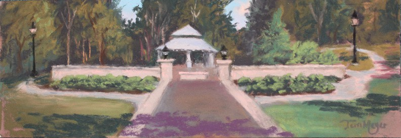 Memorial Garden at Lakeside, Ohio - Plein Air Painting by Ohio Artist Terri Meyer