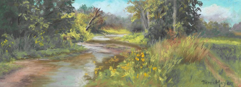 Country Landscape painting of a creek by Ohio Artist Terri Meyer