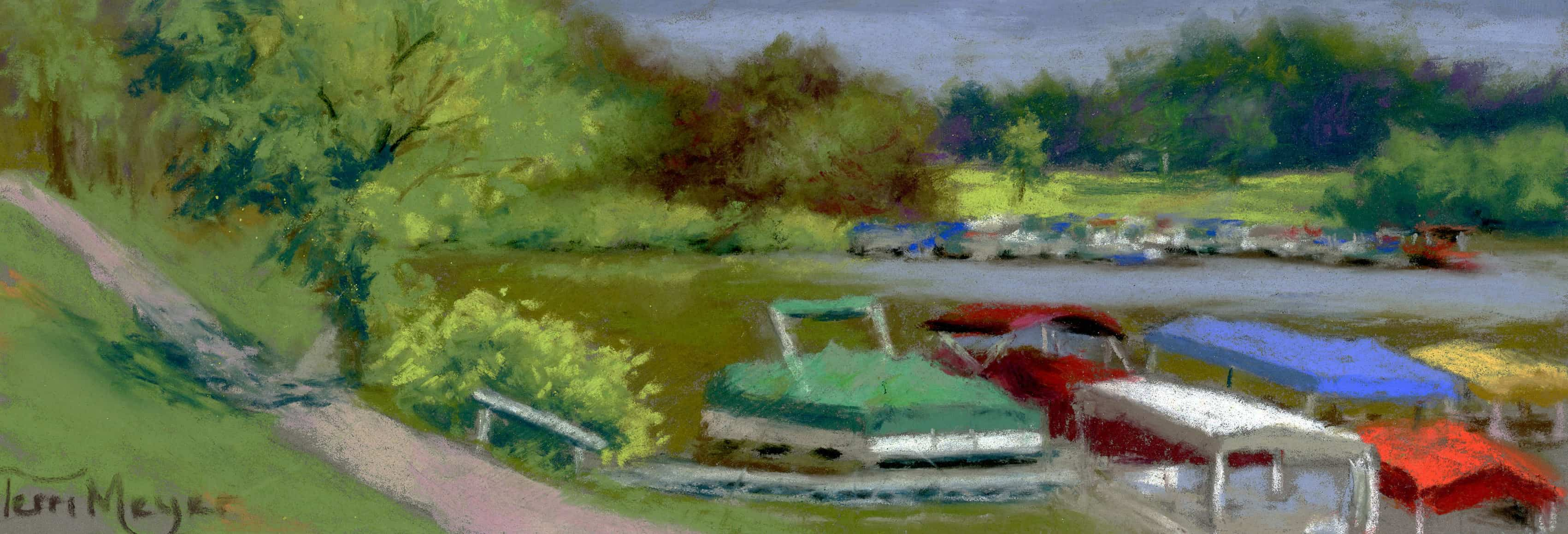 Pontoon Boats at Charles Mill Lake - Painting by Ohio Artist Terri Meyer, Plein Air Landscape Painting