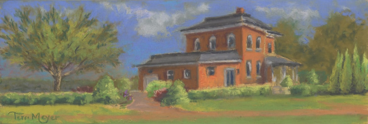 The Creative Chateau House Painting by Ohio Artist Terri Meyer, Plein Air Landscape Painting