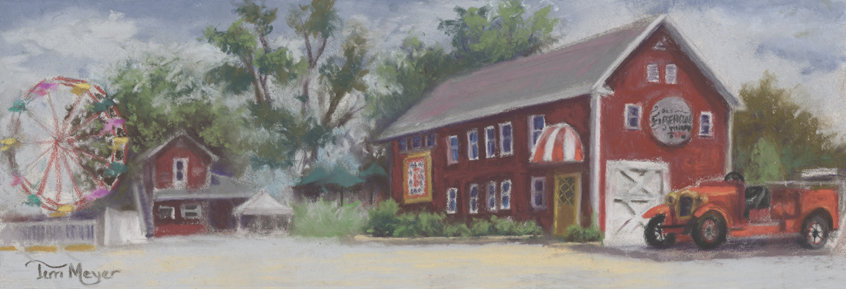 Old Firehouse Winery, Geneva on the Lake, Ohio - Painting by Ohio Artist Terri Meyer, Plein Air Landscape Painting