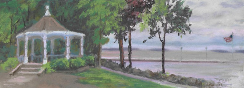 The Gazebo at Lakeside, Ohio - Plein Air Painting by Ohio Artist Terri Meyer