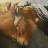 Two Horses Nuzzling Paintng