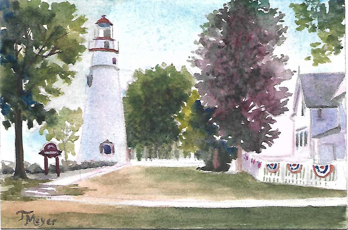 Marblehead Lighthouse Watercolor Painting, Lighthouse Painting