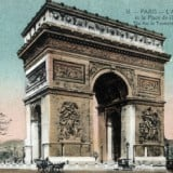 Vintage French Poster  The Arc de Triomphe and Sq, Vintage French Wall Decor
