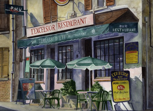 Vignette Painting - Paris Cafe by Ohio Artist Terri Meyer