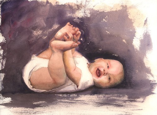 Paintings of Children, Watercolor Painting of a Baby, Portrait Painting of a Baby