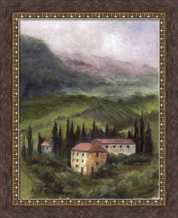 Framed Tuscan Landscape Painting, Tuscan Landscape Artwork