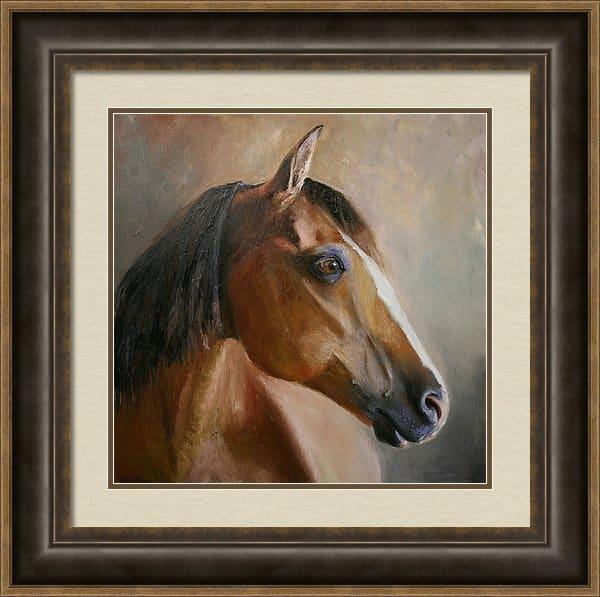 Framed Horse Artwork, Horse Painting