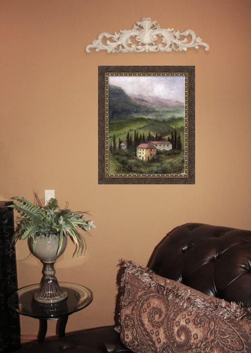 Framed Tuscan Landscape Painting, Framed Tuscan Artwork