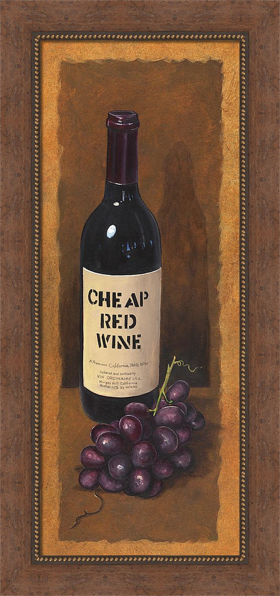 Cheap Red Wine Painting, Framed Wine Art