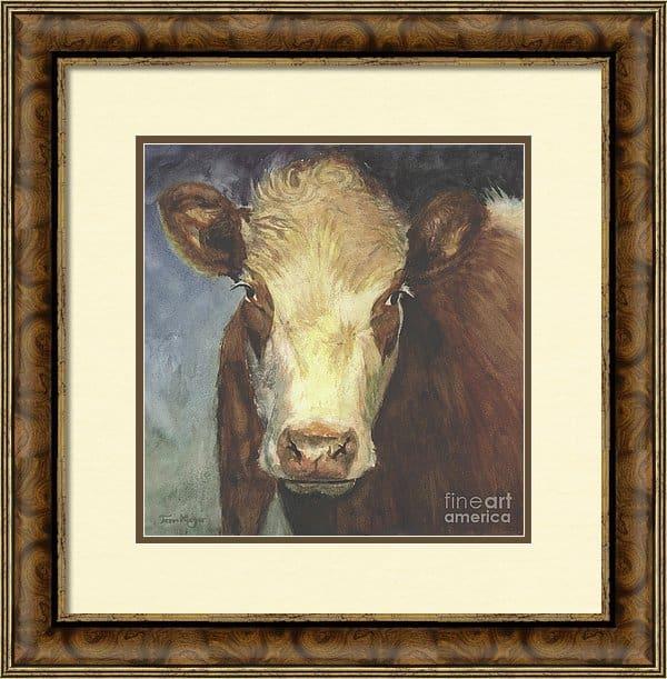 Framed Cow Artwork