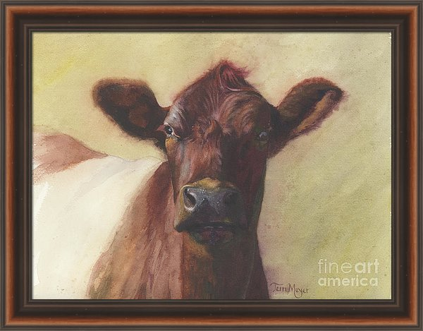 Framed Artwork, Belted Cow Painting
