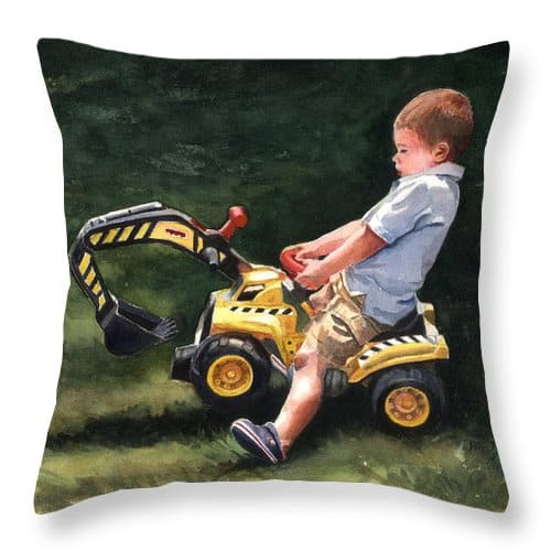 Child on a Backhoe Throw Pillow