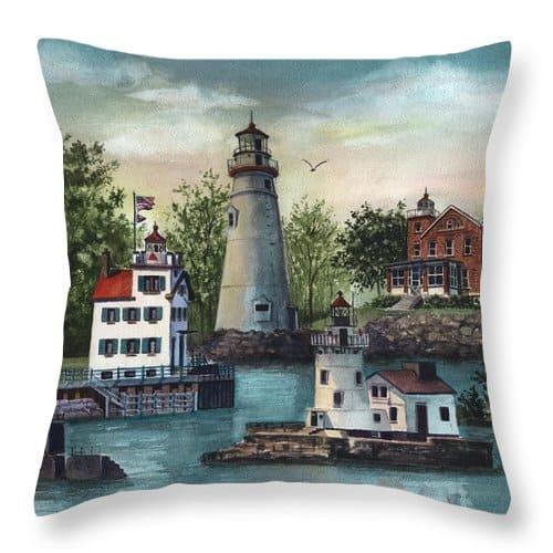 Ohio Lighthouses Throw Pillow